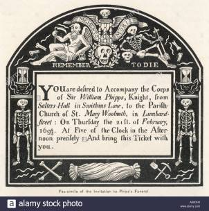 17th Century Funeral Invitation [via Alamy]