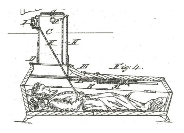 "Dr. Johann Gottfried Taberger's ""safety coffin"" invented in 1816"