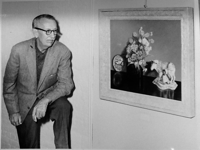 Eugene Otto and one of his paintings